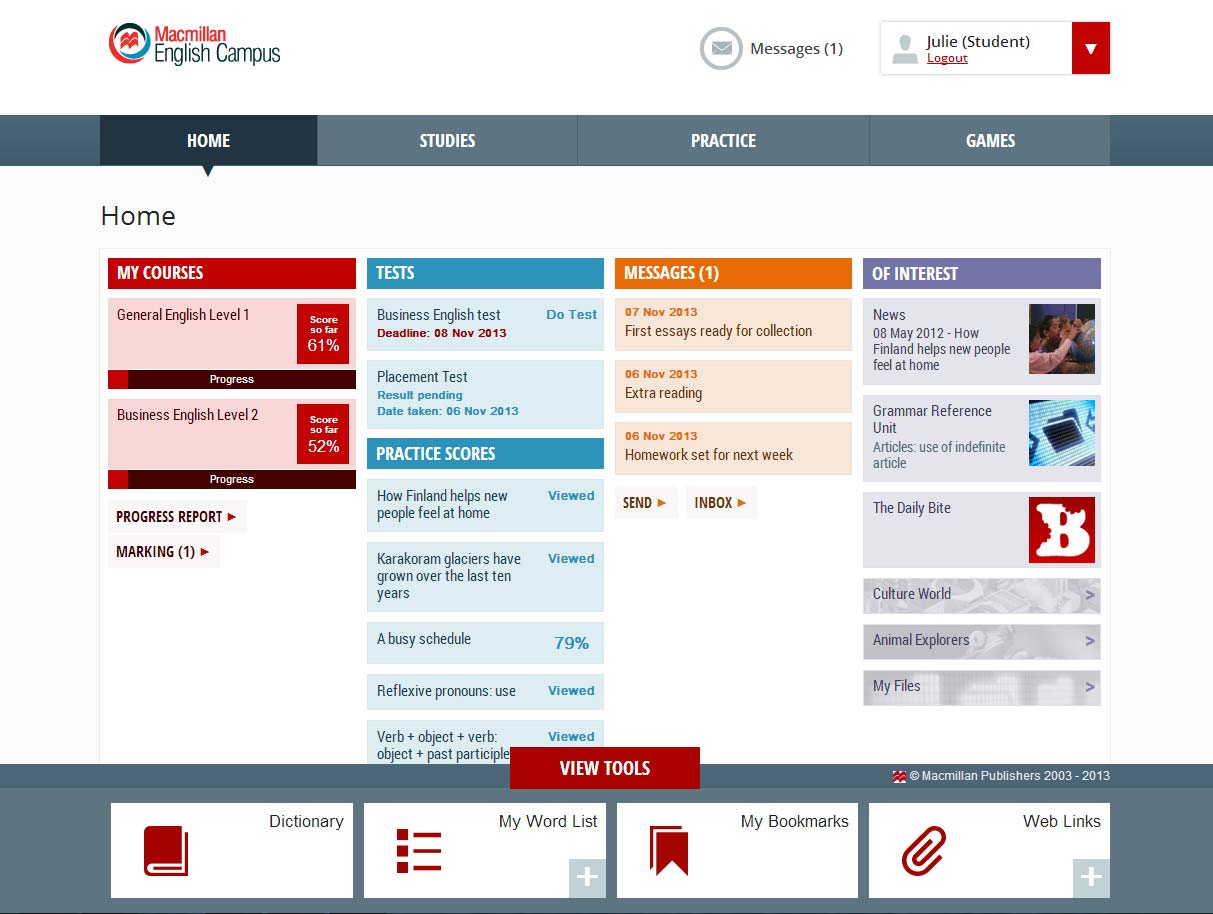 English Campus user home page dashboard.