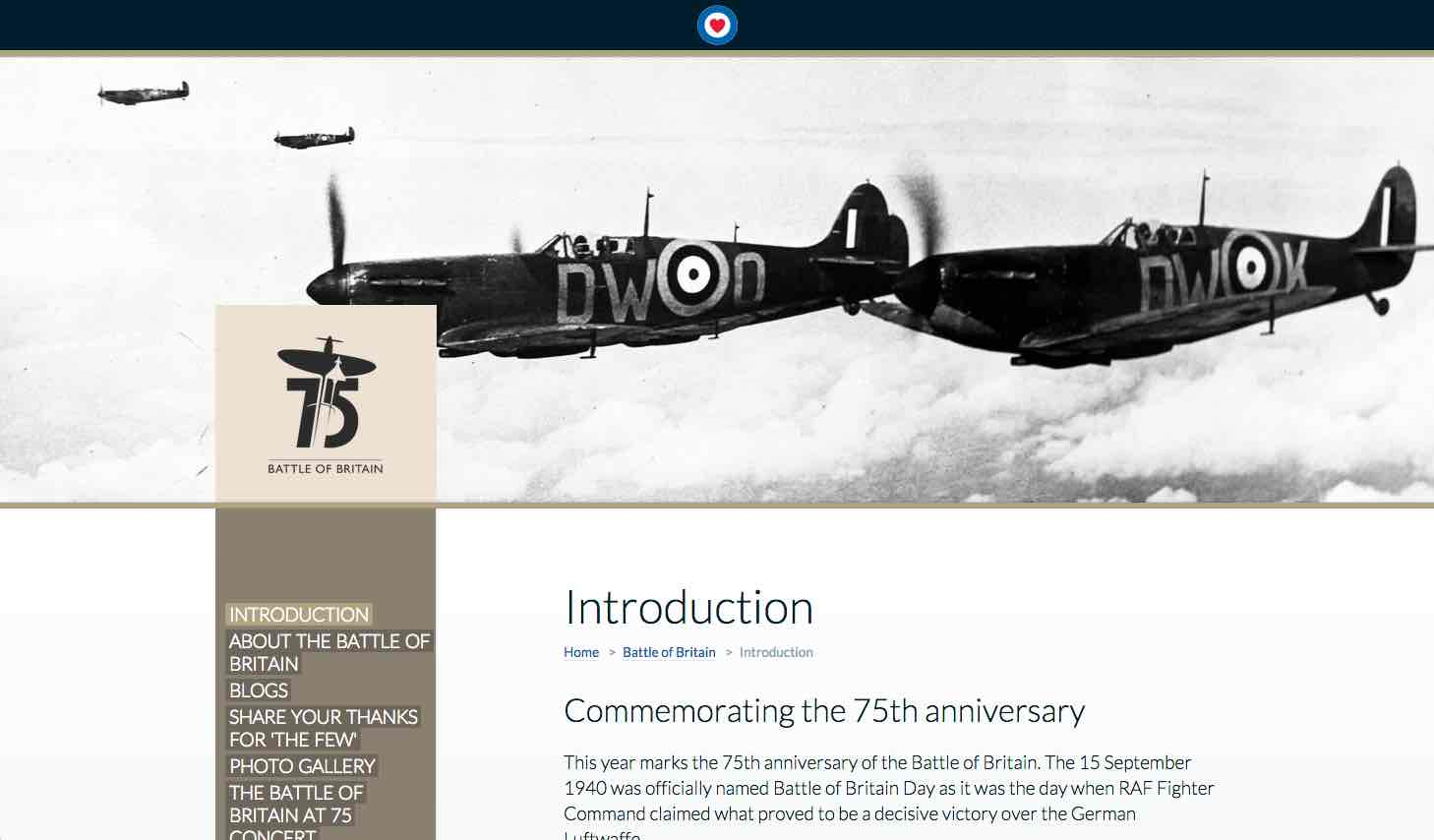 Screenshot of the RAFBF websaite