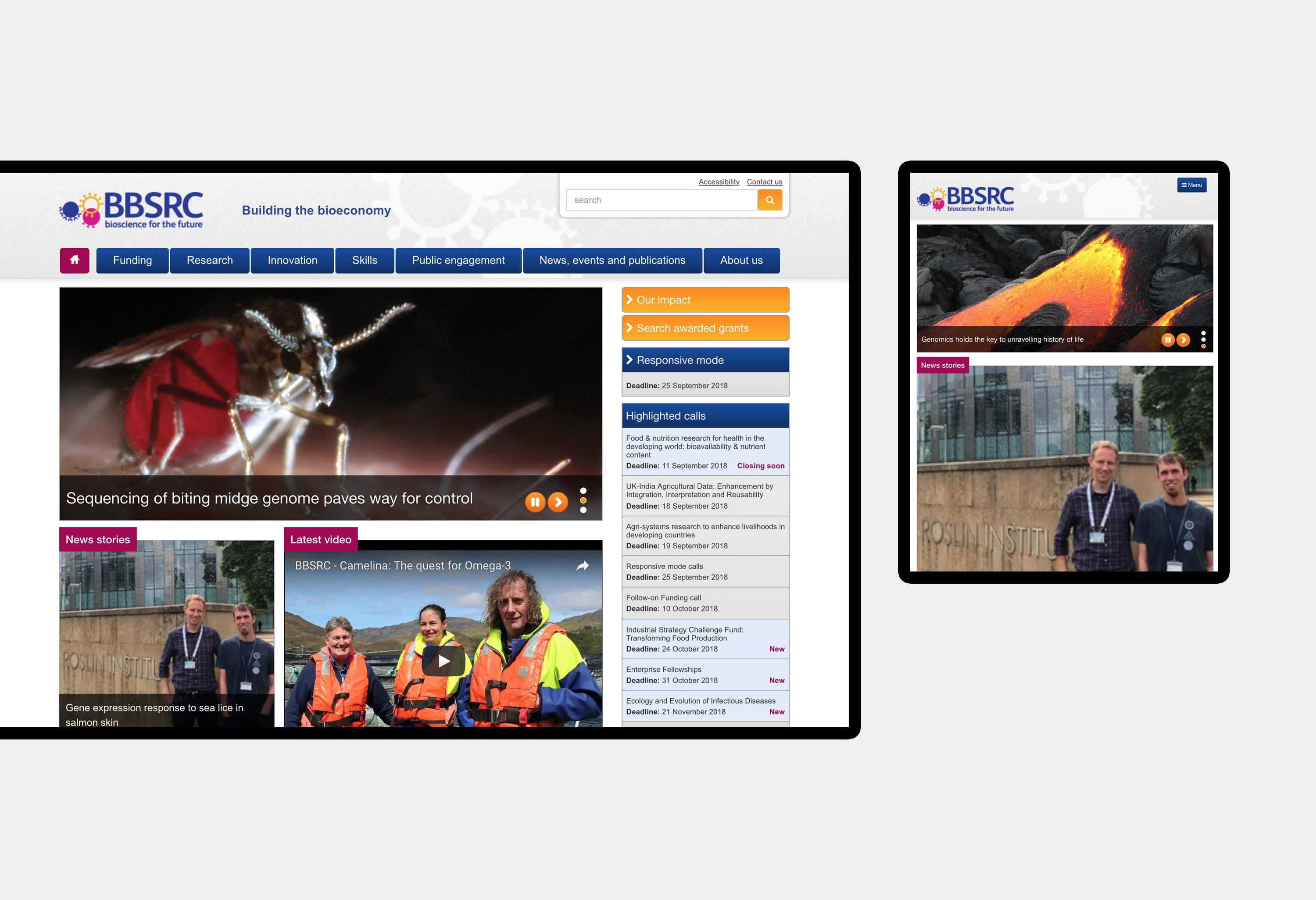 BBSRC - website design