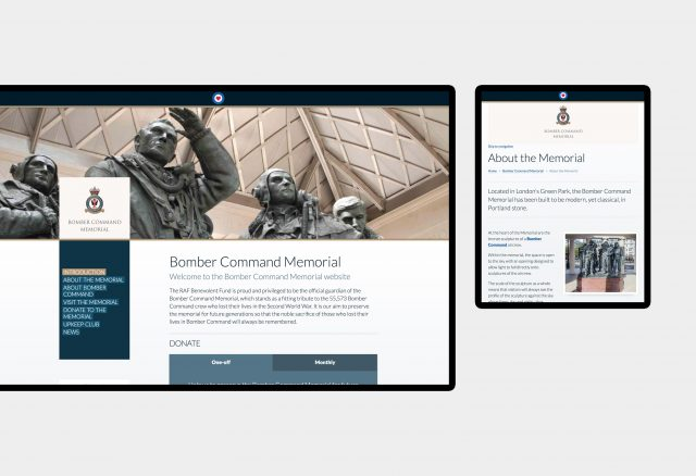 Bomber Command Memorial - website design
