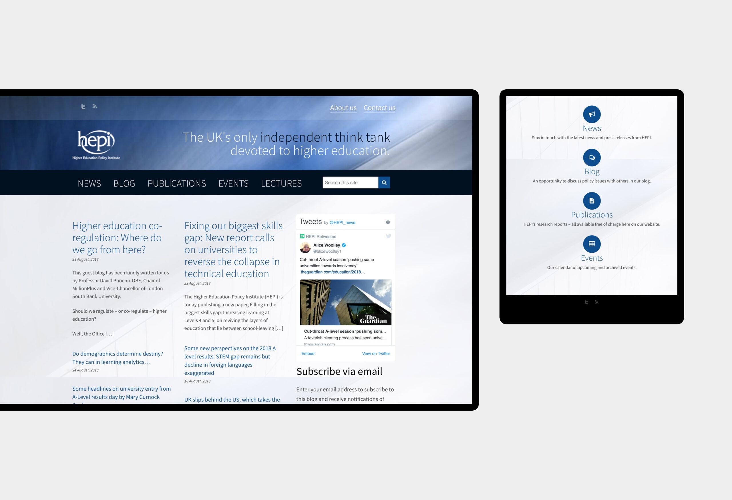 HEPI - website design