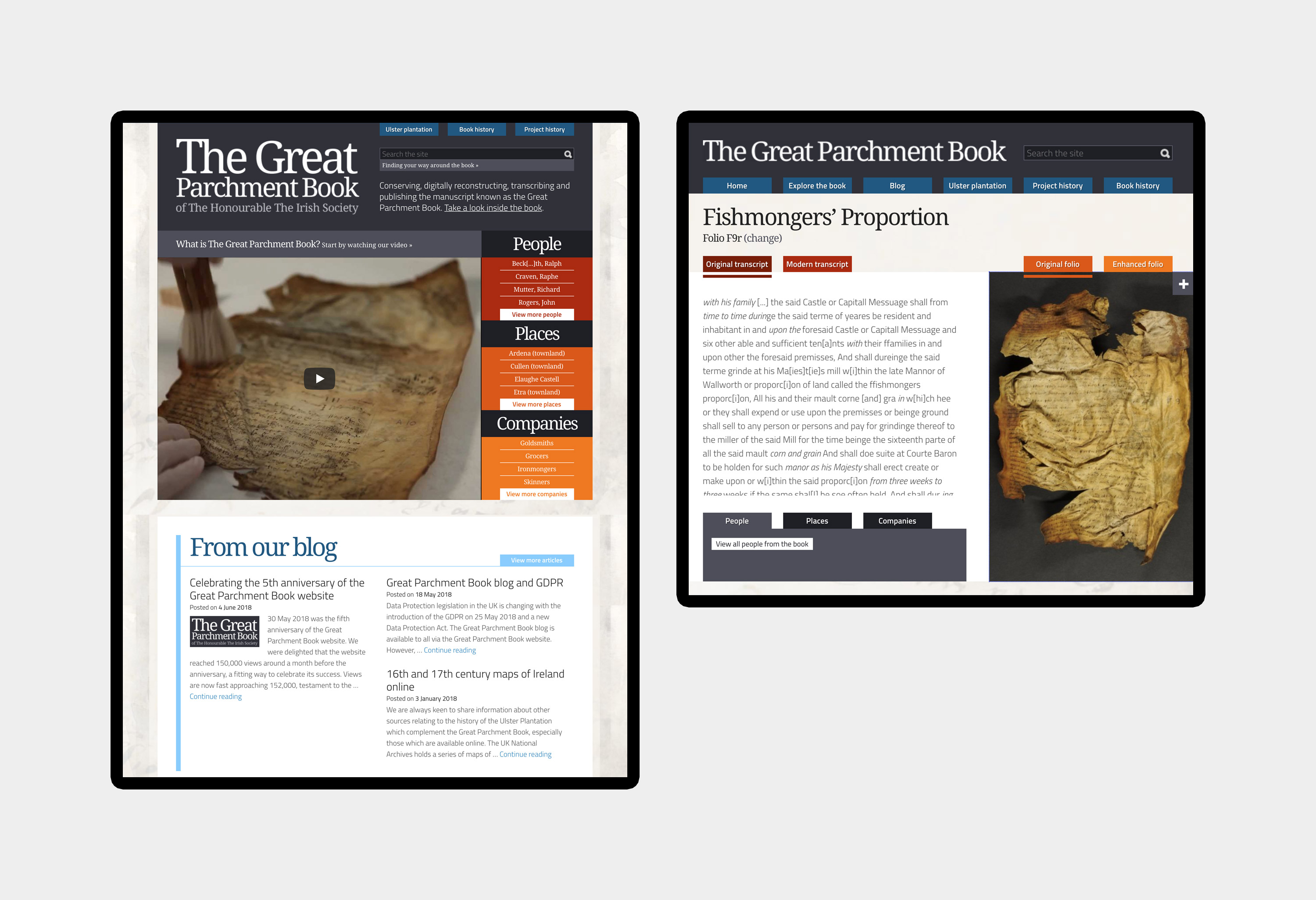 Great Parchment Book - website design