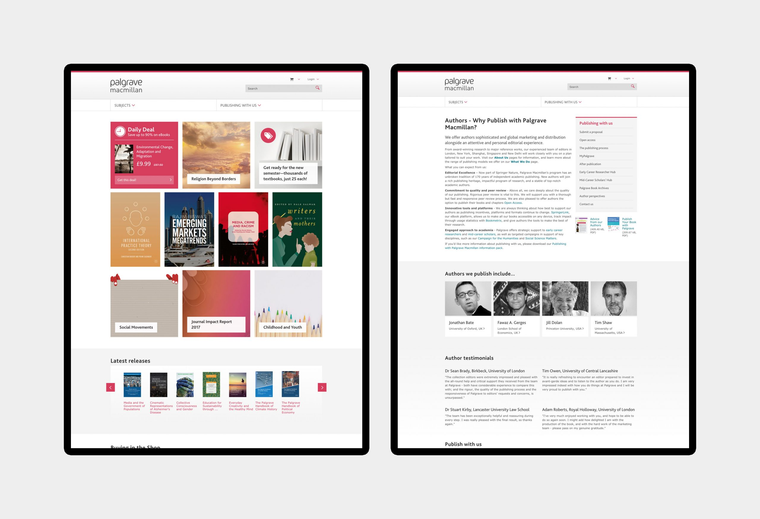 Palgrave Macmillan - website design