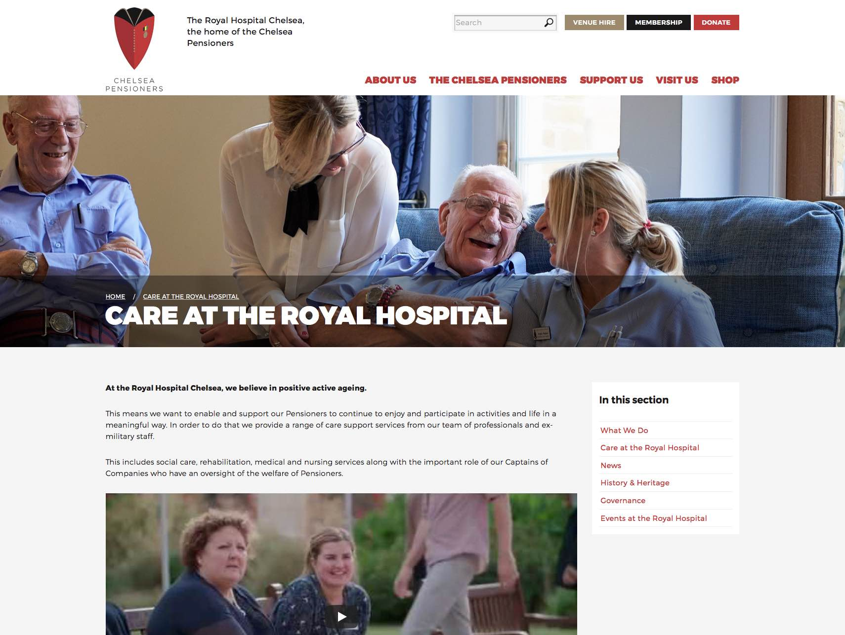 Screenshot of the Care at RHC page.