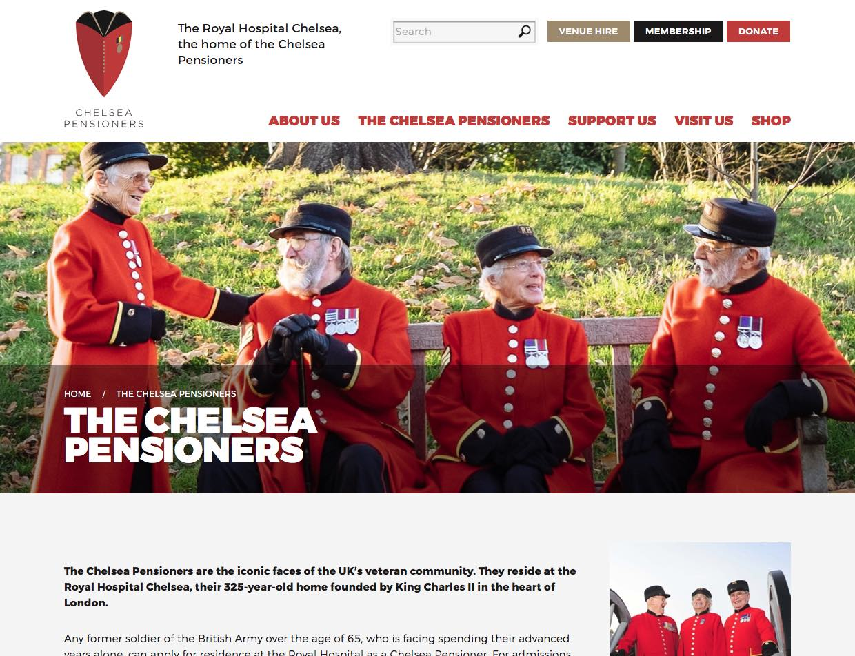 Screenshot of The Chelsea Pensioners page.