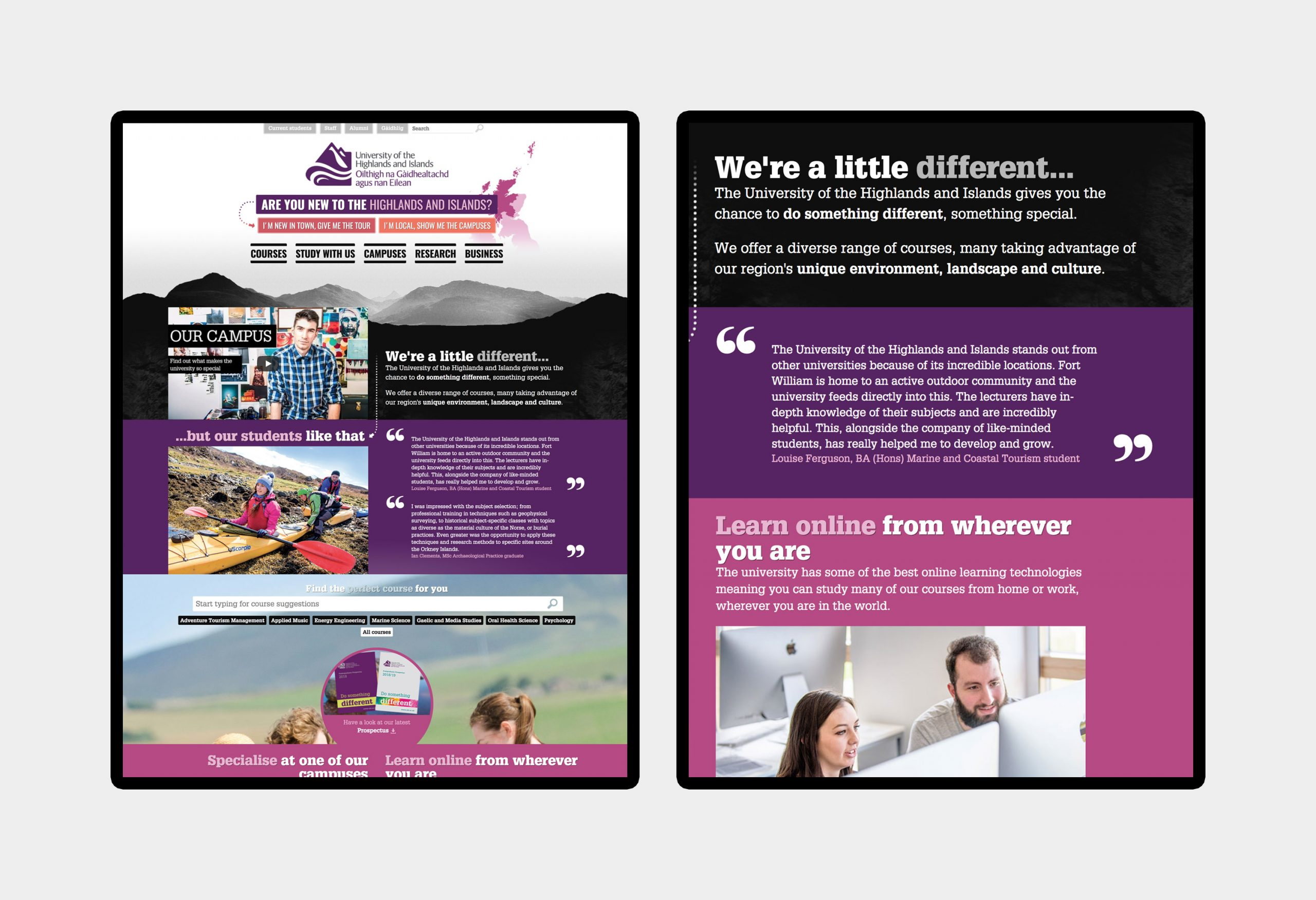 University of the Highlands and Islands - website design