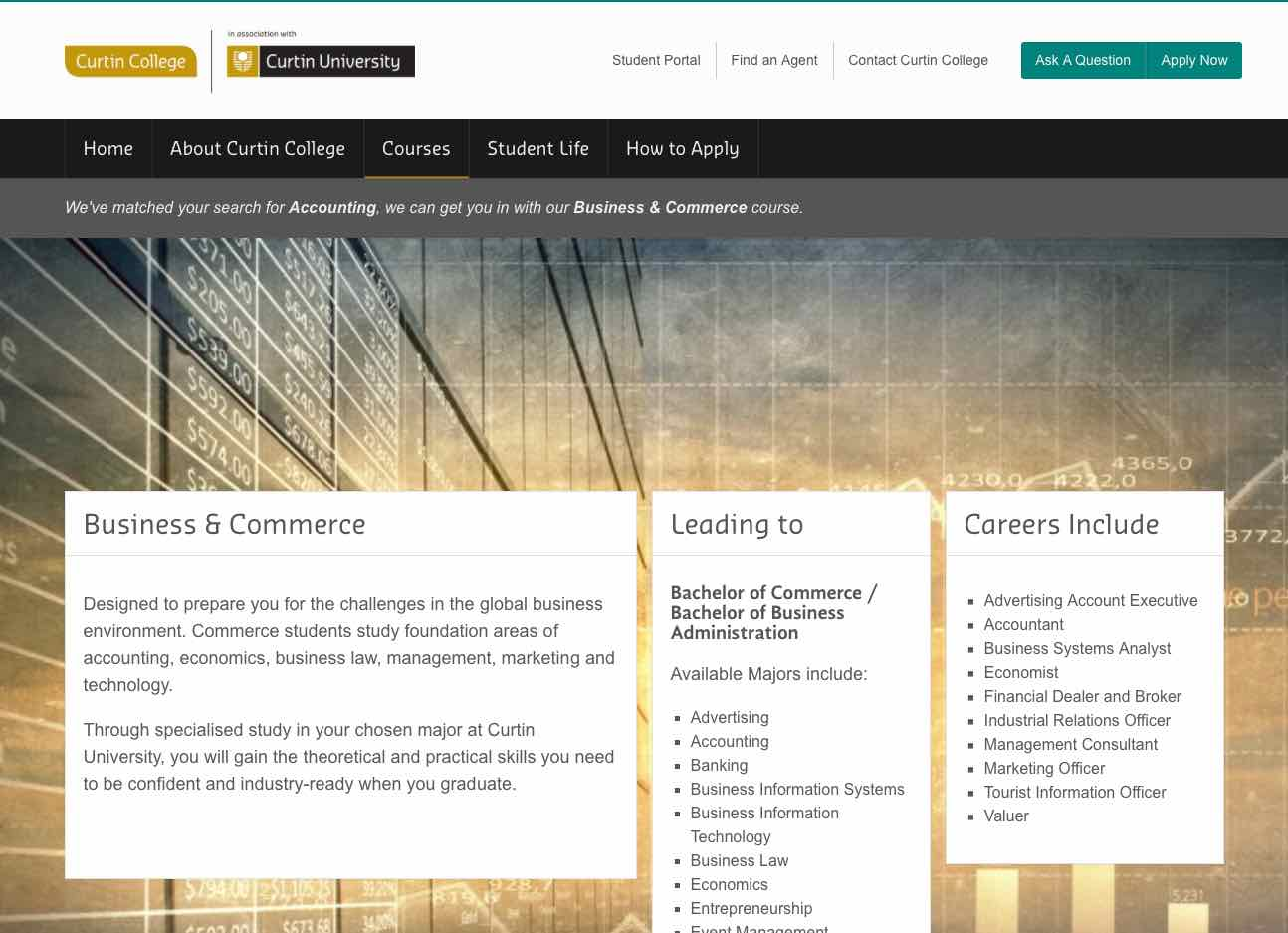 Curtin Business and Commerce page