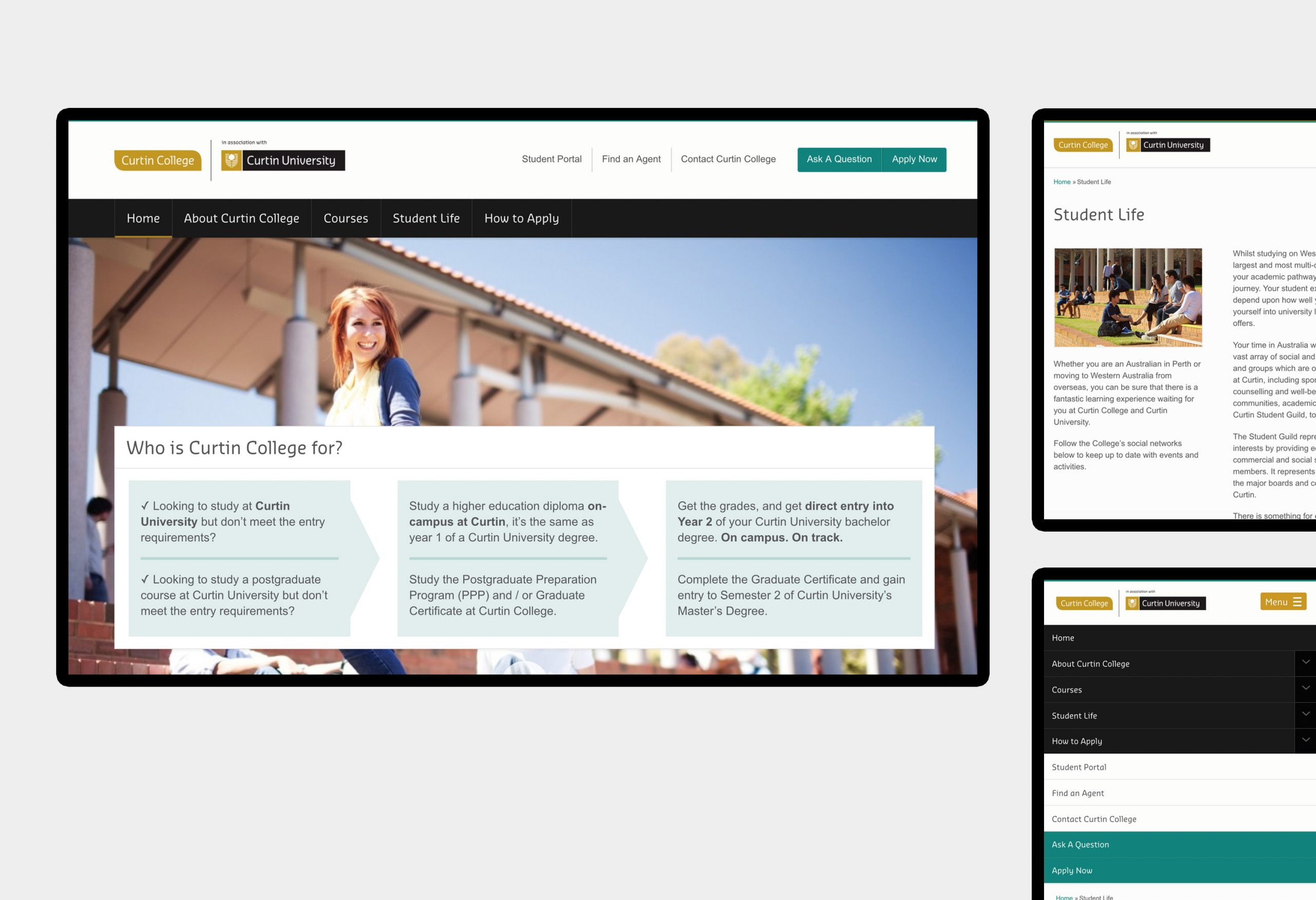 Curtin College - website design