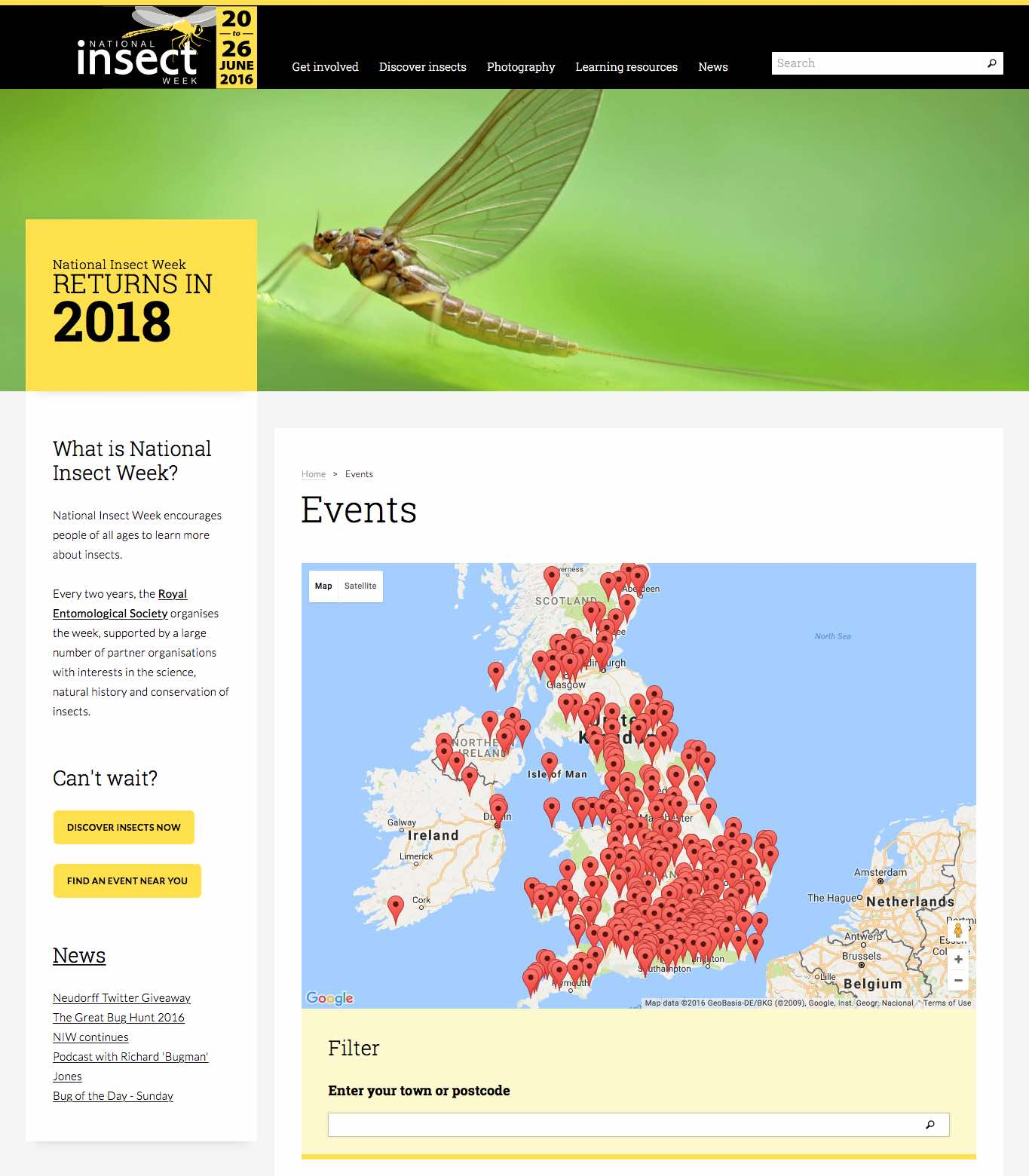 National Insect Week events map