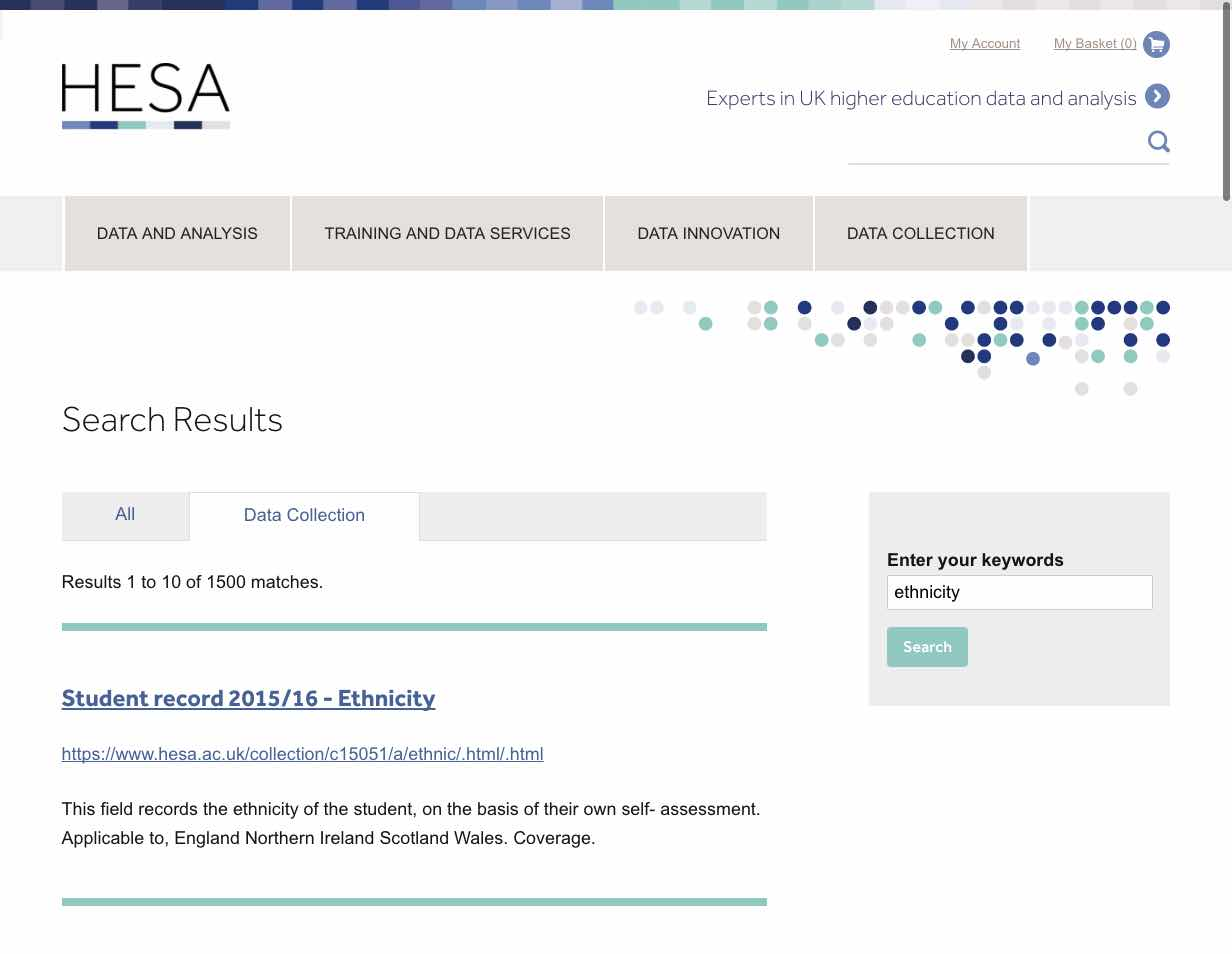 HESA search screenshot