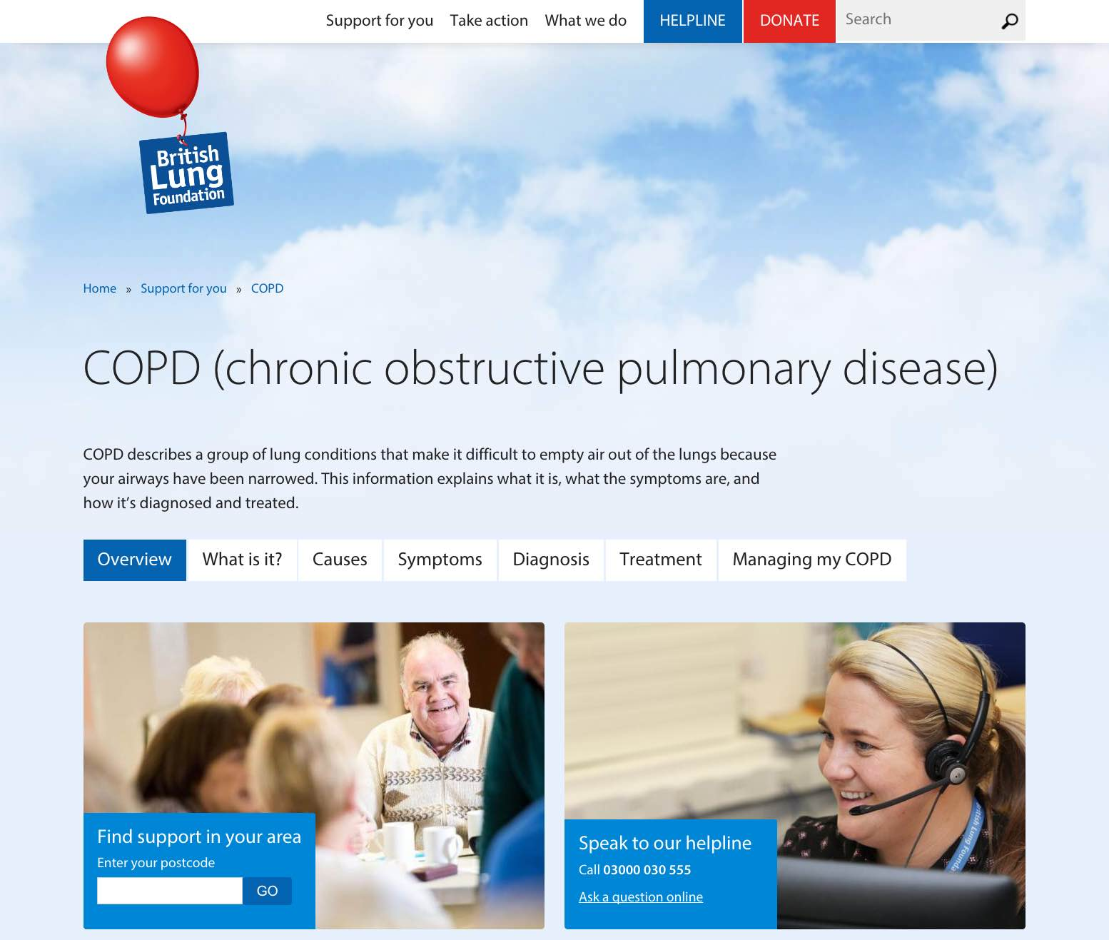 Screenshot from the BLF site covering COPD