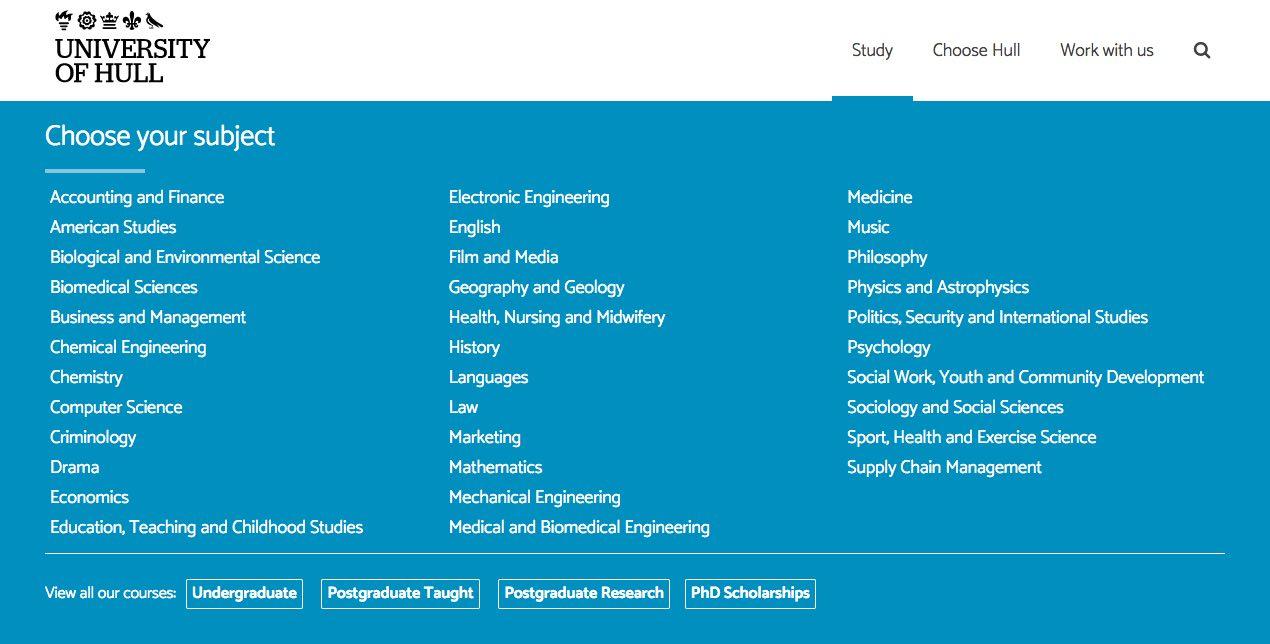 University of Hull wireframe screenshot