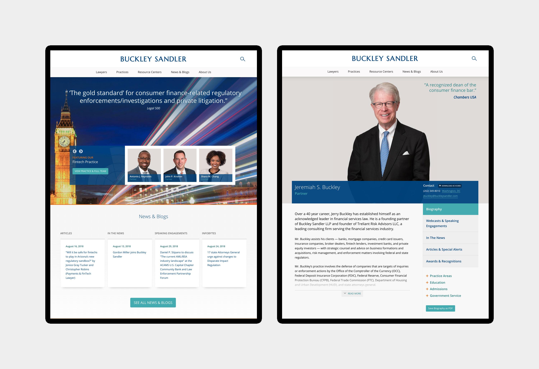 Buckley Sandler - website design