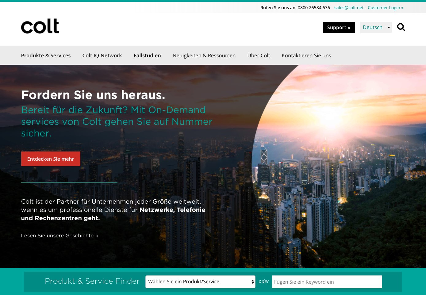 Screenshot of german language Colt homepage.
