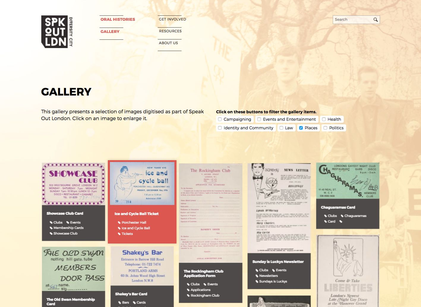 Screenshot of gallery listing page