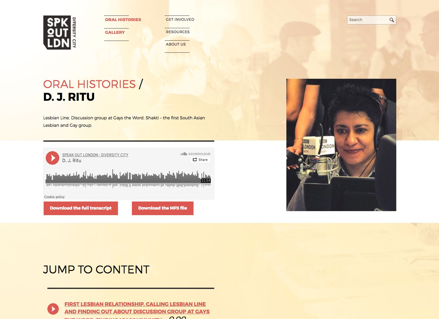 Screenshot of oral history page