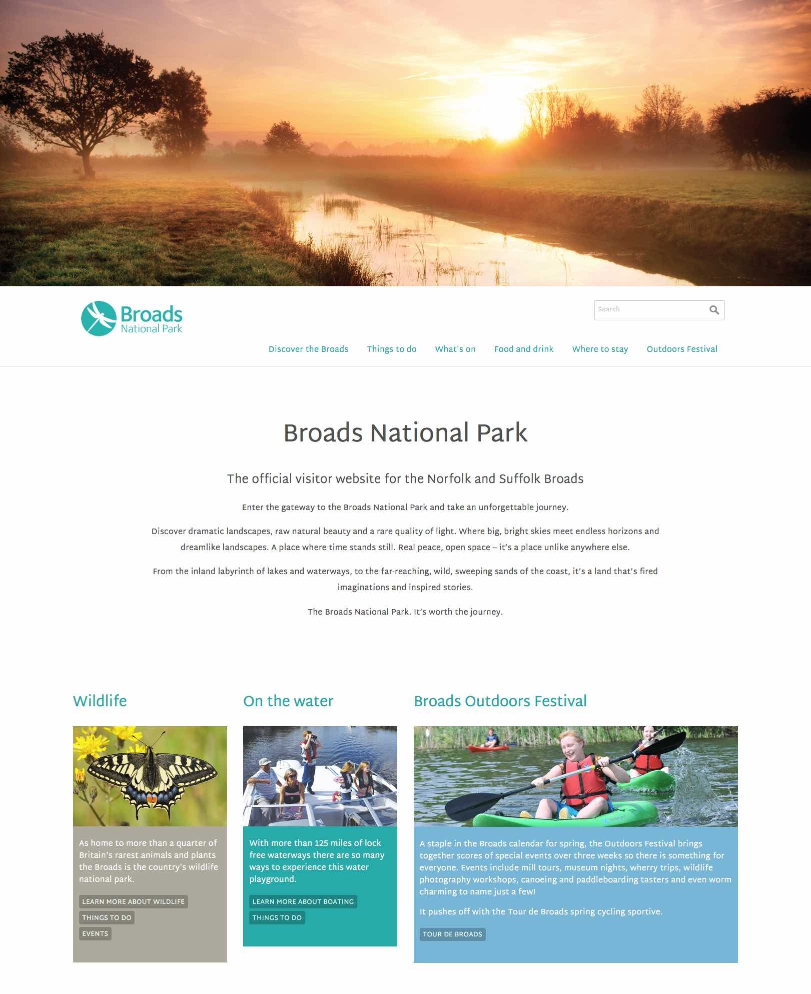 Screenshot of the Visit the Broads homepage