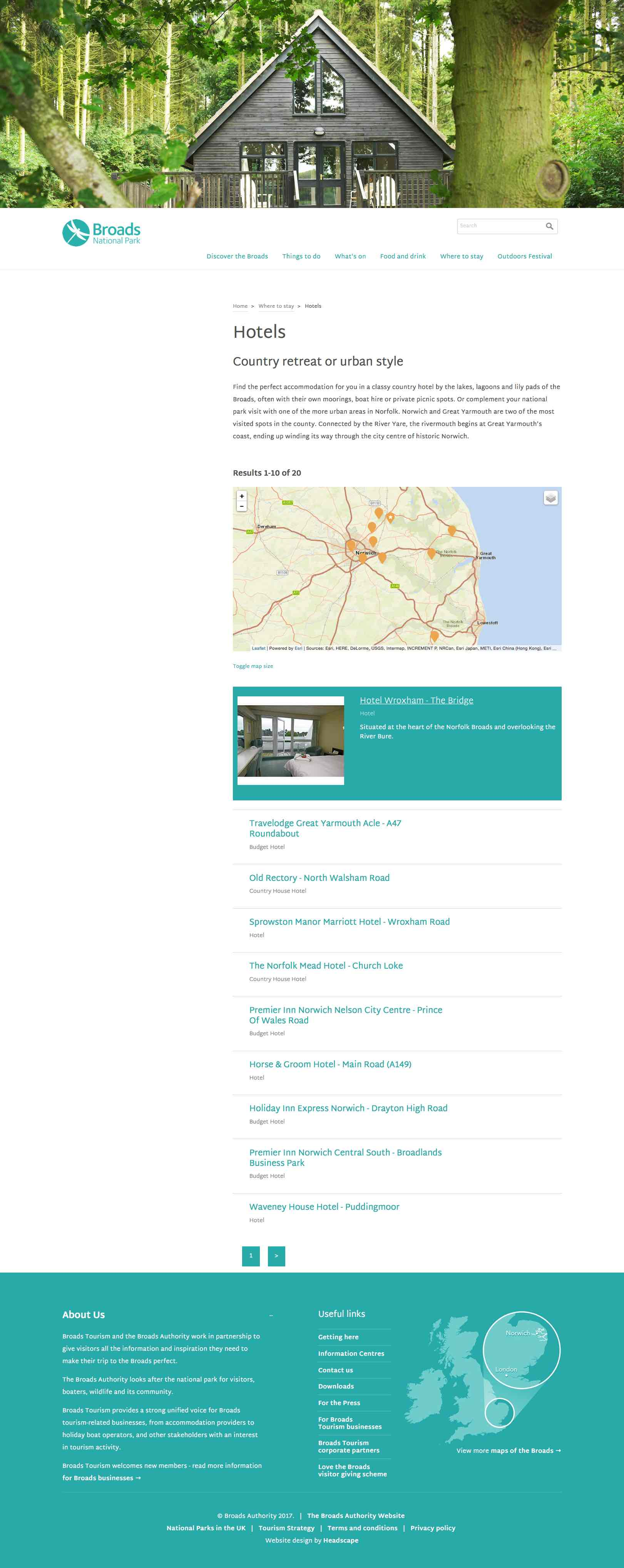 Screenshot of the Visit the Broads hotels listing page