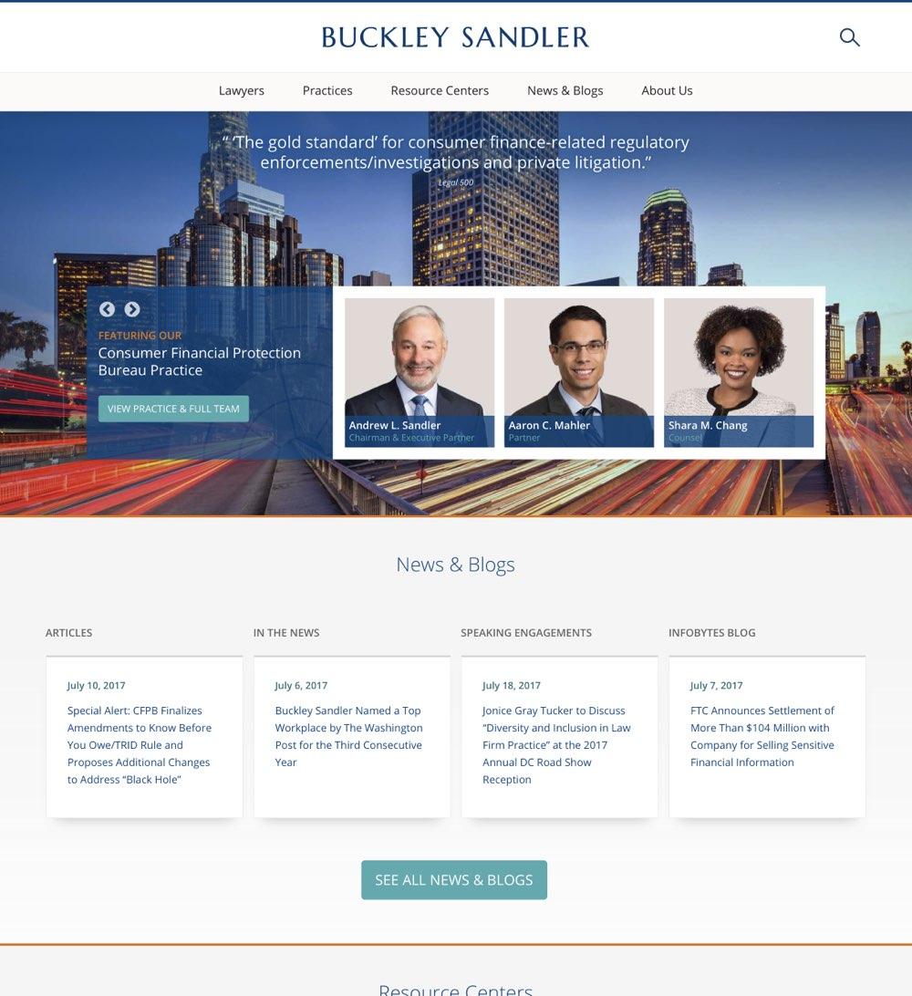 The Buckley Sandler homepage.