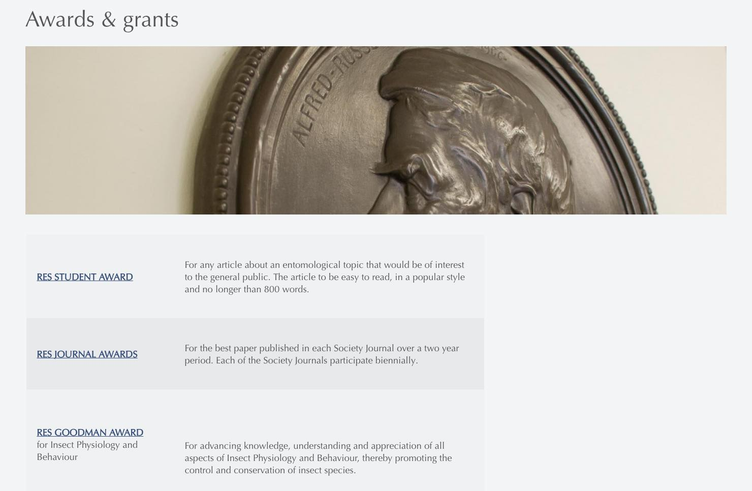 RES Awards and Grants page screenshot.