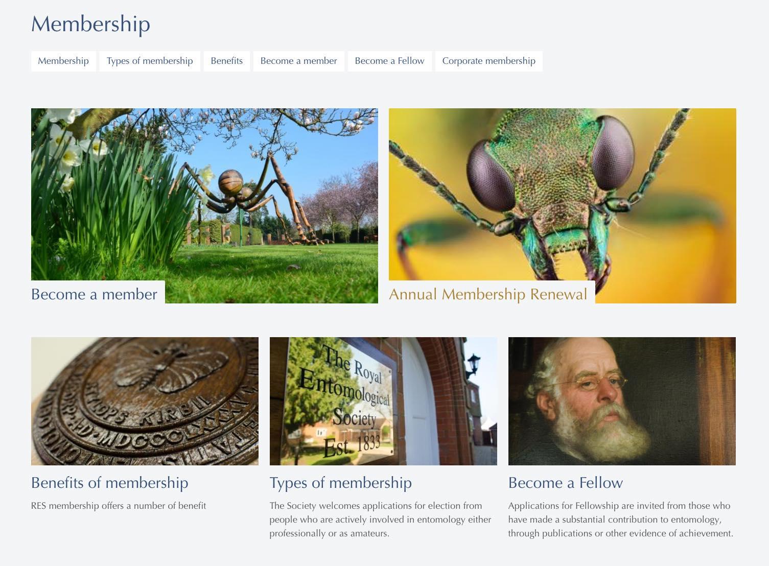 RES Membership page screenshot.