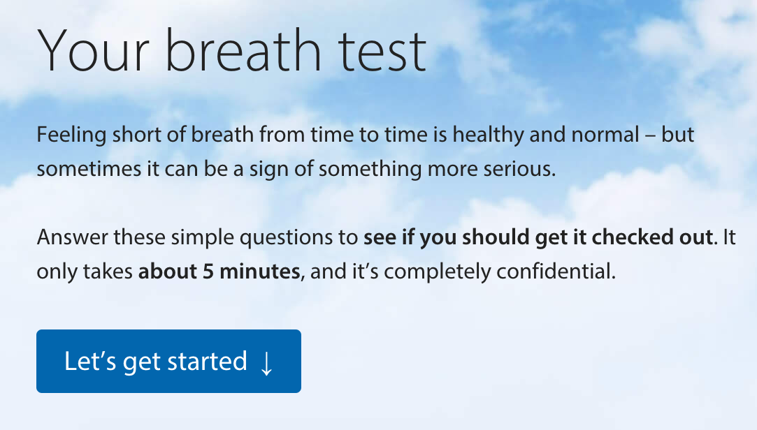 BLF breath test start page