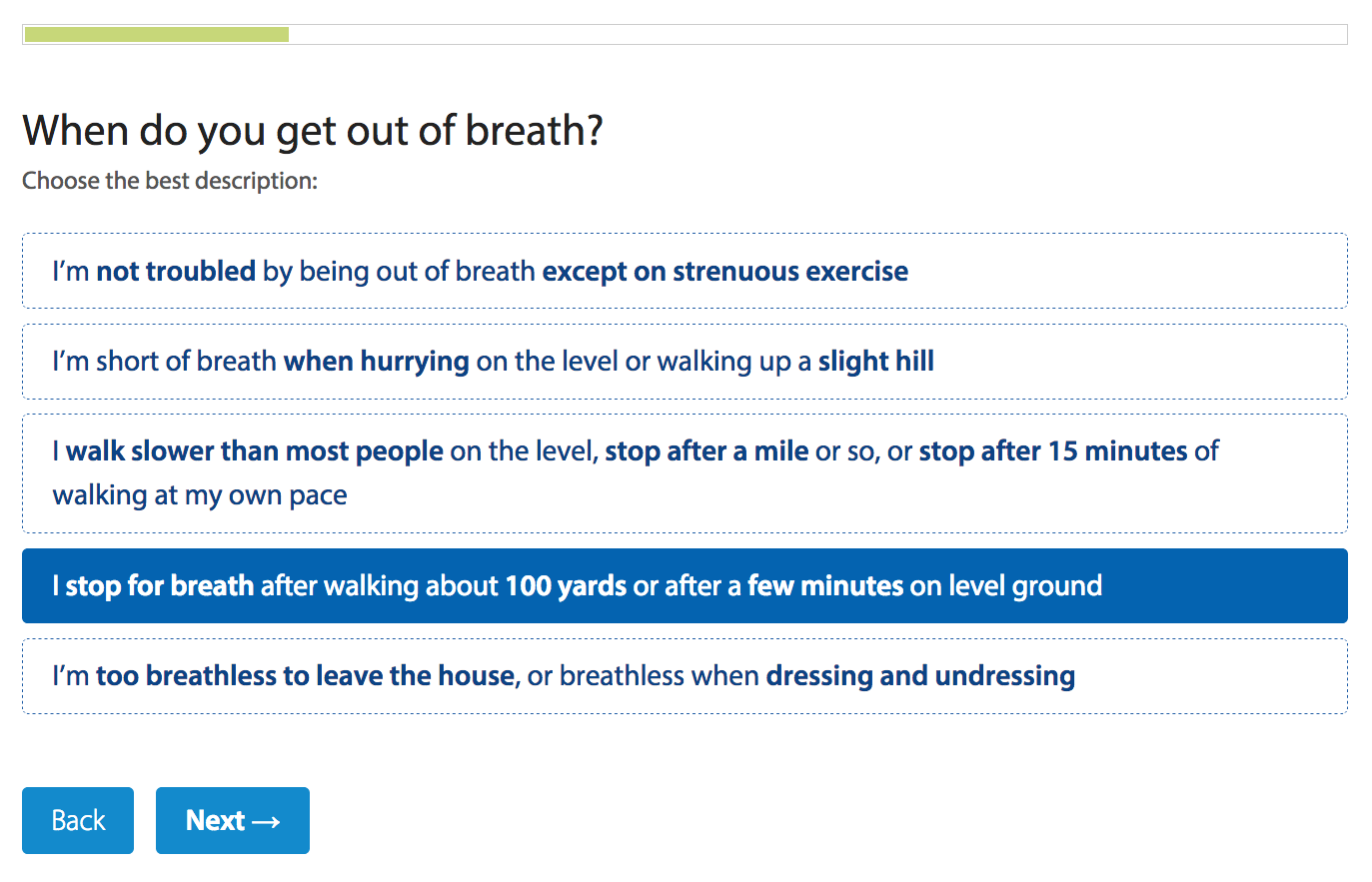 Medical Research Council breathlessness options